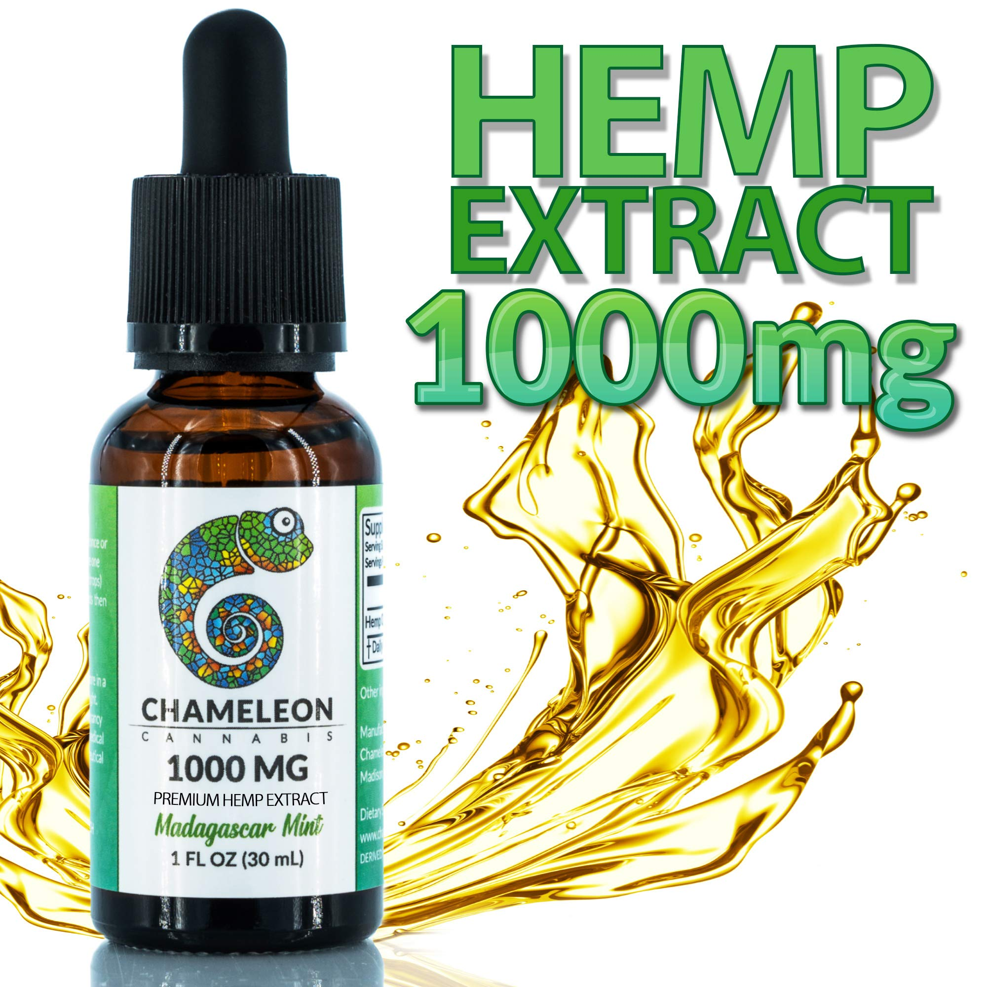 Chameleon Hemp Oil (Mint) 1000mg, Hemp Oil for Pain, Stress Relief, Mood Support, Healthy Sleep Patterns (1000mg, 33mg per Serving x 30 Servings) by Chameleon Cannabis