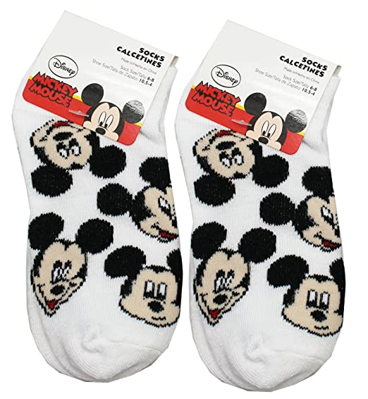 Disneys Mickey Mouse Assorted Faces Kids White Socks (2 Pairs, ...