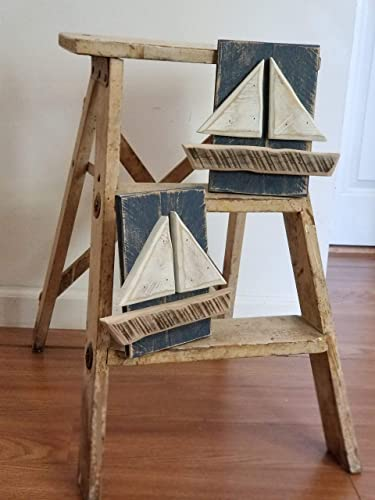 Sailboats Set-Sailboat Wall Art, Nautical Beach Wall Art Decor Sign Boat Picture, Wood Sailboat, Beach Decor
