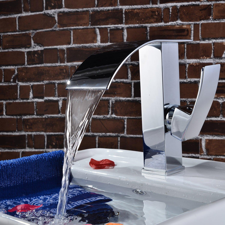 Sprinkle Deck Mount Single Handle Widespread Waterfall Bathroom Sink Faucet  Chrome Finish Basin Bath Shower Faucets Bathtub Mixer Taps Lavatory  Plumbing ...