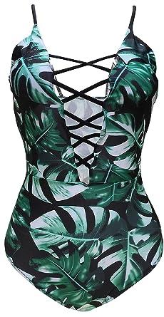 33e1764d56cfa Gabrielle-Aug Women's Vintage One Piece Sexy Swimsuit Beach Adjustable  Straps Suit (FBA)