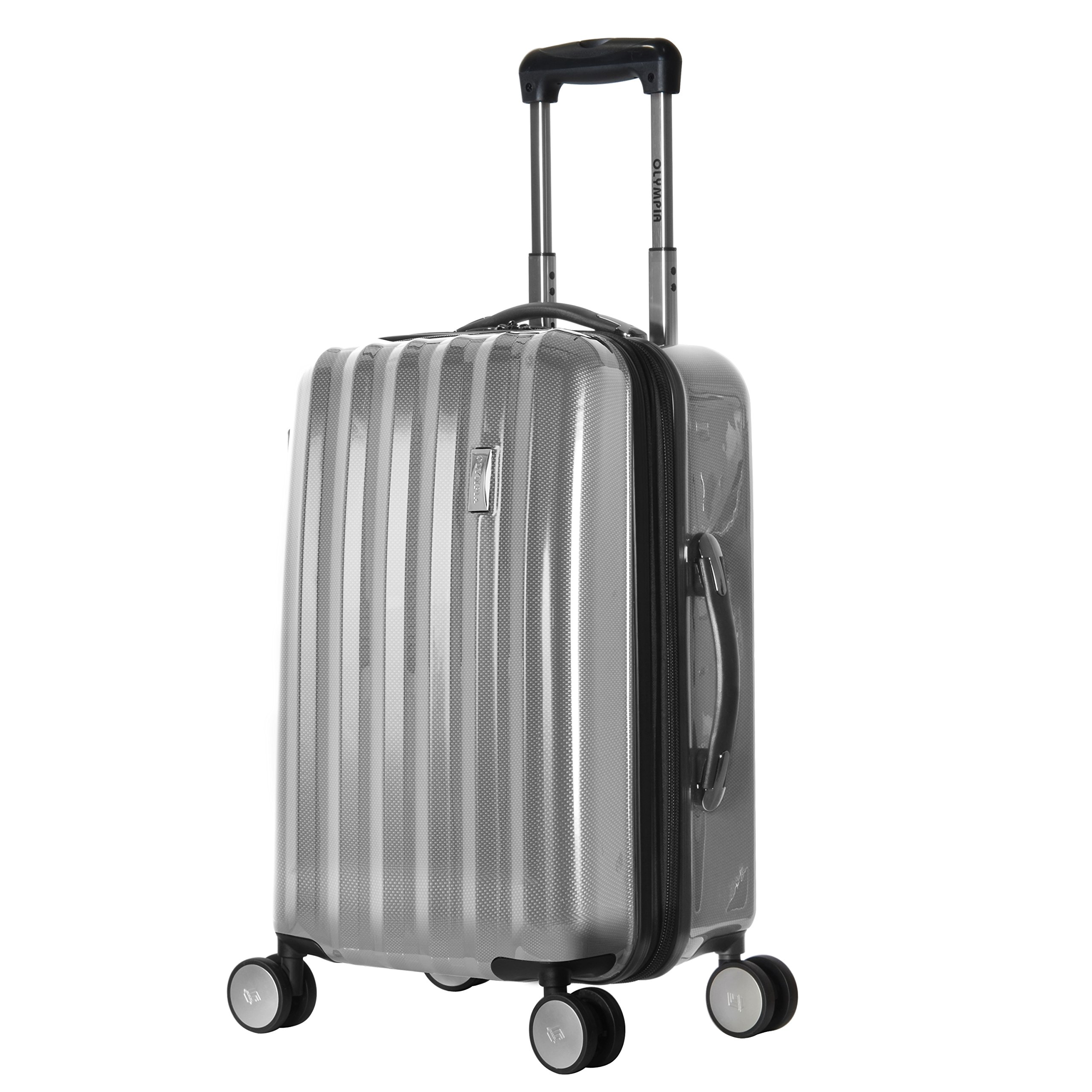 Olympia Titan 21 Inch Expandable Carry-On Hard Case Spinner, Silver, One Size by Olympia
