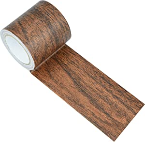 Repair Tape Patch Wood Textured Adhesive, Marrywindix 1 Roll 15 Feet Wood Grain High Adhesive Repair Tape for Furniture Floor Beautification and Home Decoration (Dark Brown Oak Grain)