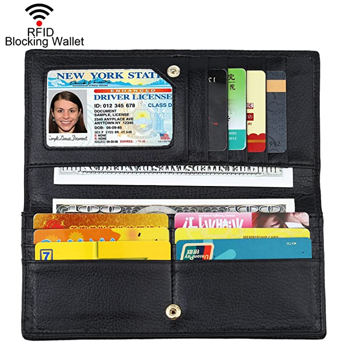 fd55b01fd9d3 Lavemi RFID Blocking Ultra Slim Real Leather Credit Card Holder Clutch  Wallets for Women(Black1