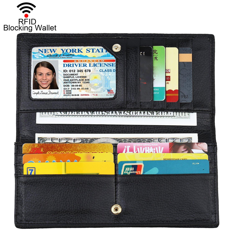Dante Women RFID Blocking Ultra Slim Leather Wallet-Clutch Wallet(Black1)
