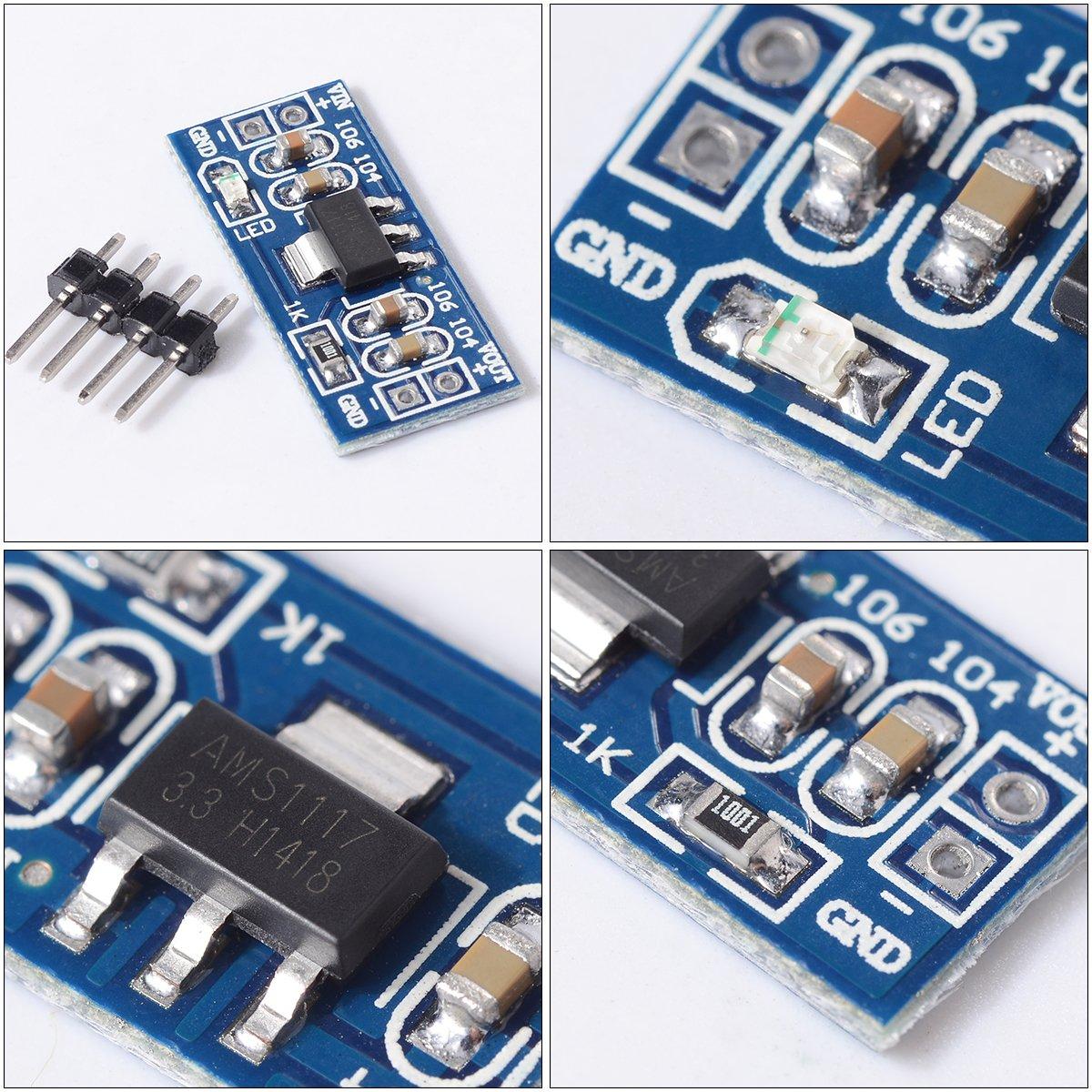 10x DC DC 4.5-7V /à 3.3V AMS1117-3.3V Convertisseur abaisseur R/égulateur de tension dalimentation Module de capteur buck bloc dalimentation