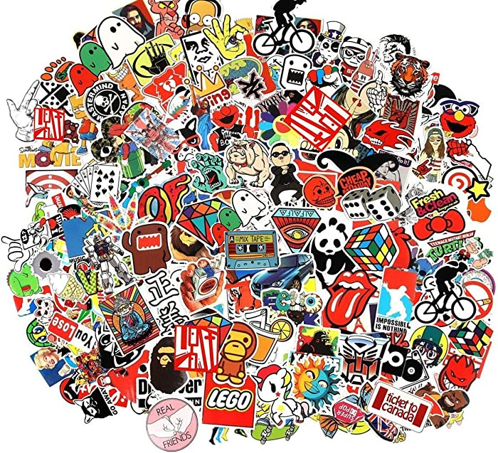 CHNLML Cool Sticker 55-905pcs Random Music Film Vinyl Skateboard Guitar Travel Case Sticker Door Laptop Luggage Car Bike Bicycle Stickers (Random Pack) (105pcs)