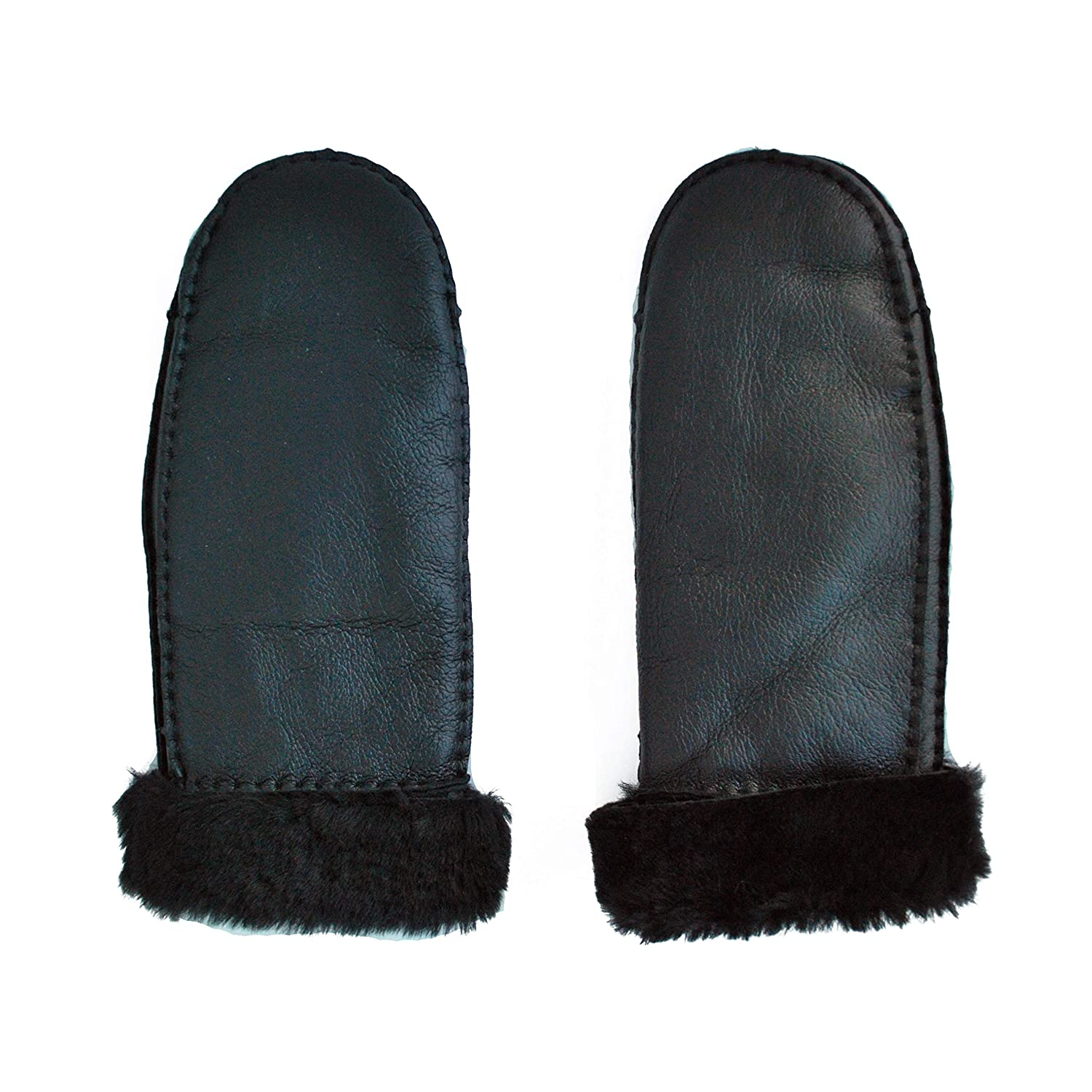 Women's Hand Sewn Sheep Shearling Fur Mitten #81 (Matt Navy)