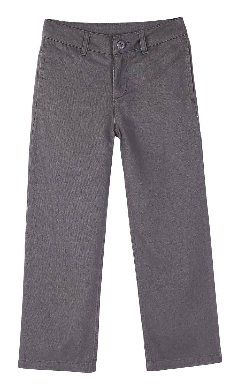 Bienzoe Boy's School Uniforms Flat Front Cotton Twill Adjust Waist Pants