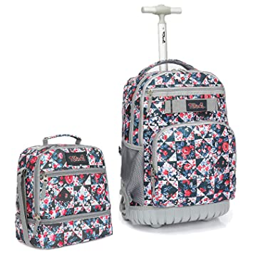 455347f3b1d4 Amazon.com: Tilami Rolling Backpack 18 inch with Lunch Bag Wheeled ...