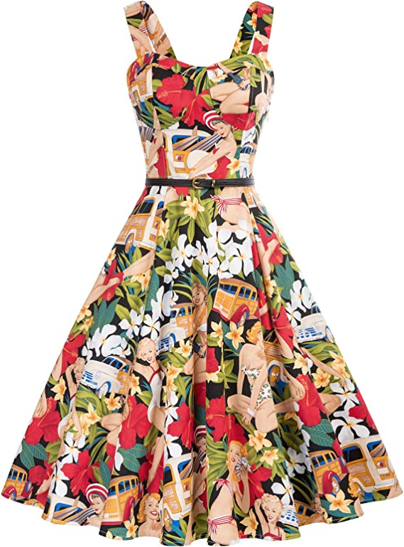 Retro Tiki Dress – Tropical, Hawaiian Dresses Belle Poque Homecoming 1950s Retro Vintage Sleeveless V-Neck Flared A-Line Dress BP416 $31.66 AT vintagedancer.com