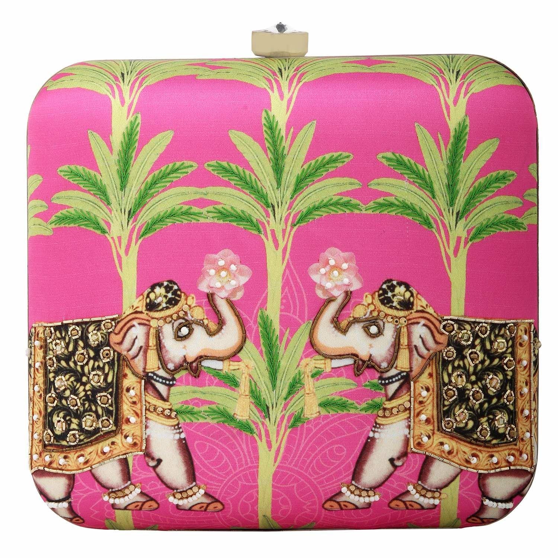 Pink Hard Case Satin Animal Printed Hathi Bageecha Ethnic Clutch Purses for Women