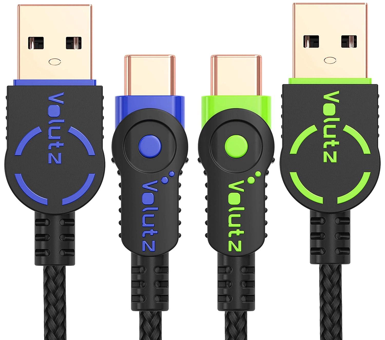 Cables USB Tipo C Volutz Equilibrium+, (2X 6.5FT) chapados en Oro y Trenzados en Nylon USB-A a Tipo-C 2.0 para Samsung Galaxy S8, S8+, Note 8, Sony XZ, ...