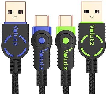 Cables USB Tipo C Volutz Equilibrium+, (2X 6.5FT) chapados en Oro y Trenzados en Nylon USB-A a Tipo-C 2.0 para Samsung Galaxy S8, S8+, Note 8, Sony ...