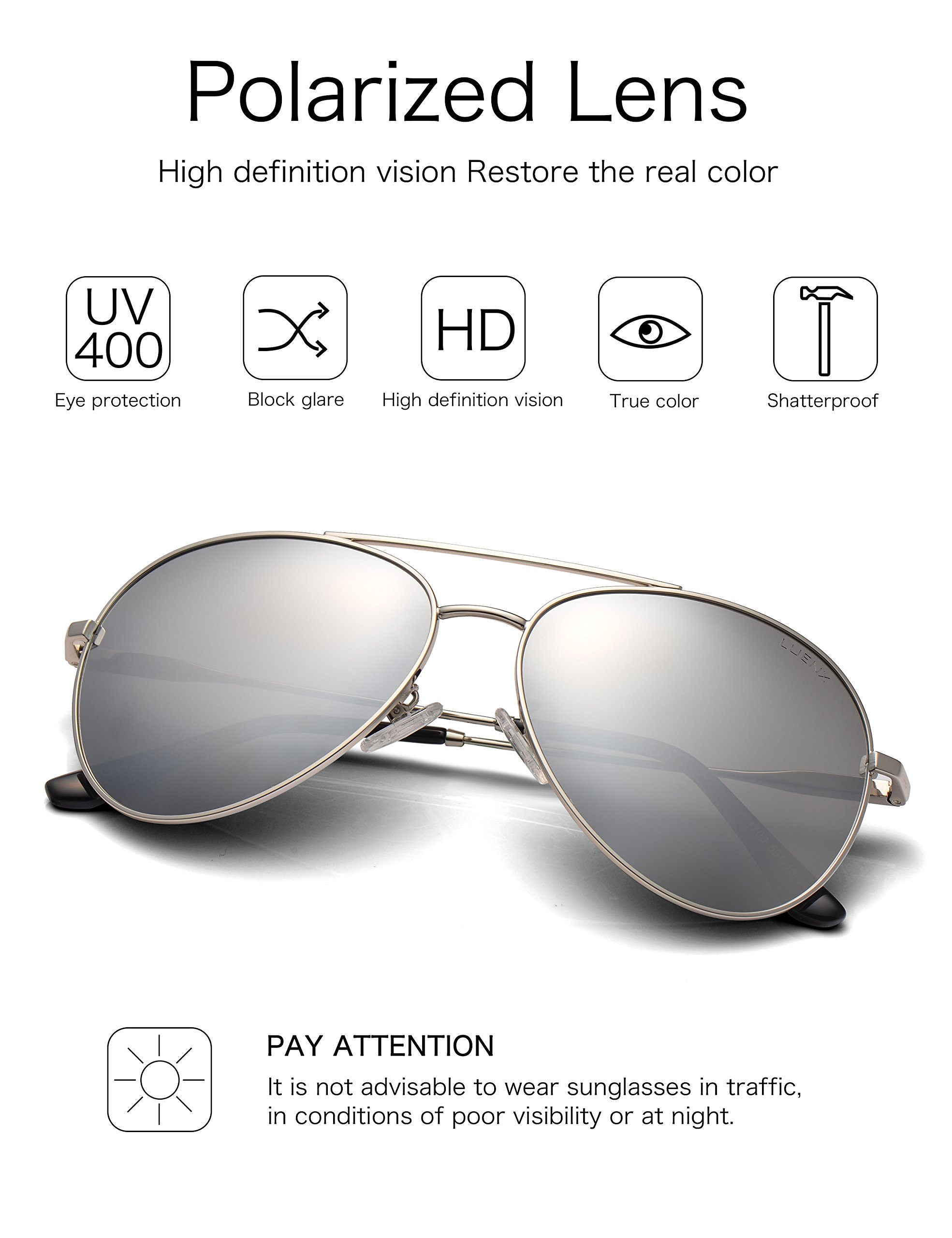 3cd247413a5 LUENX Men Women Aviator Sunglasses Polarized Mirrored Silver Lens Metal  Frame UV 400 Driving 59MM with Accessories