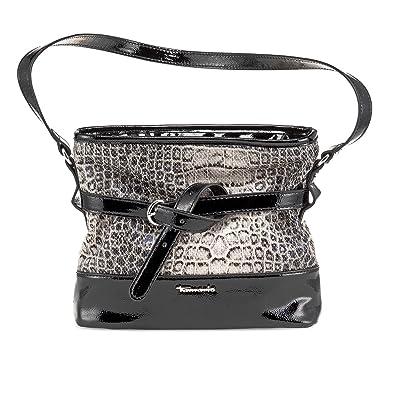 Tamaris FLORA Handtasche, Shoulder Bag, Lack oder Matt Applikationen, 2 Farben: schwarz comb, oder tobacco braun comb