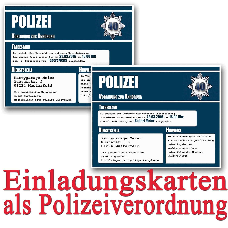 Einladungskarten Zum Geburtstag Als Polizeivorladung (18 Stück)  Geburtstagseinladung Polizei Vorladung Einladung: Amazon.de: Bürobedarf U0026  Schreibwaren