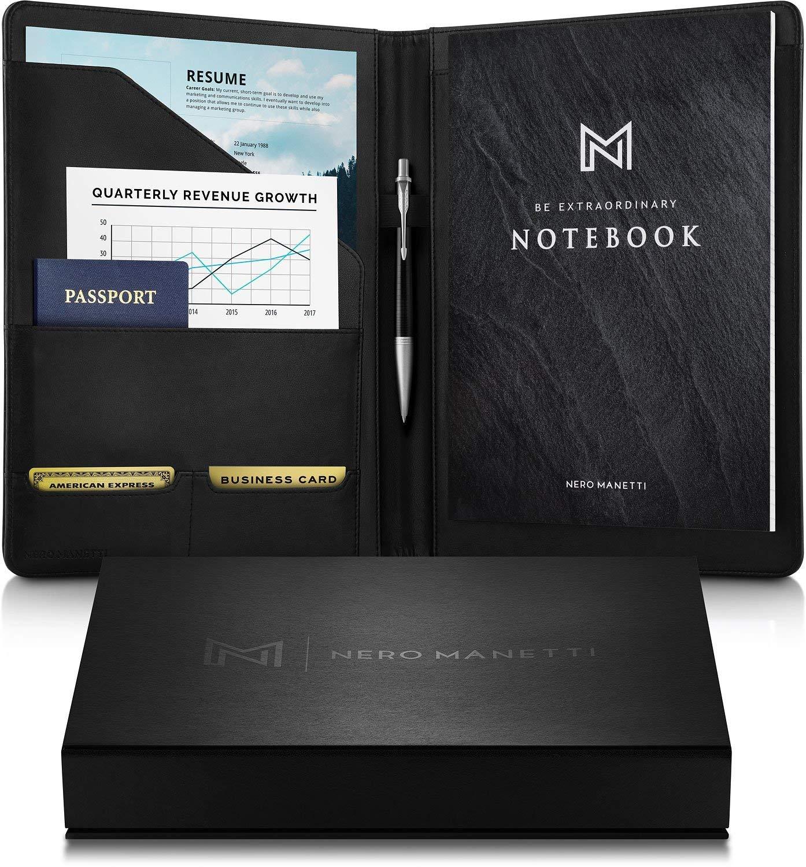 NERO MANETTI- Leather Portfolio Folder Professional Notebook- Business PU Leather Portfolio Notepad Holder for Resumes, Legal Pad Portfolio Binder for Women/Men Black Professional Padfolio Notebook