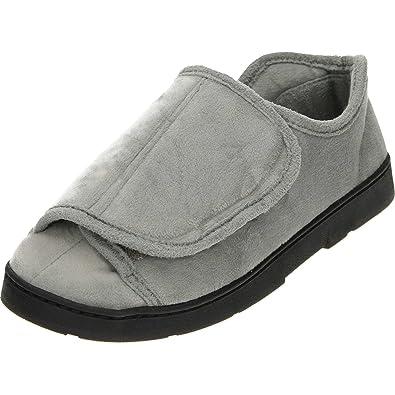 f6a9caa3ef7d Dr Keller Ladies riptape Soft Fleece Lightweight Slippers Shoe UK 3 36 Grey