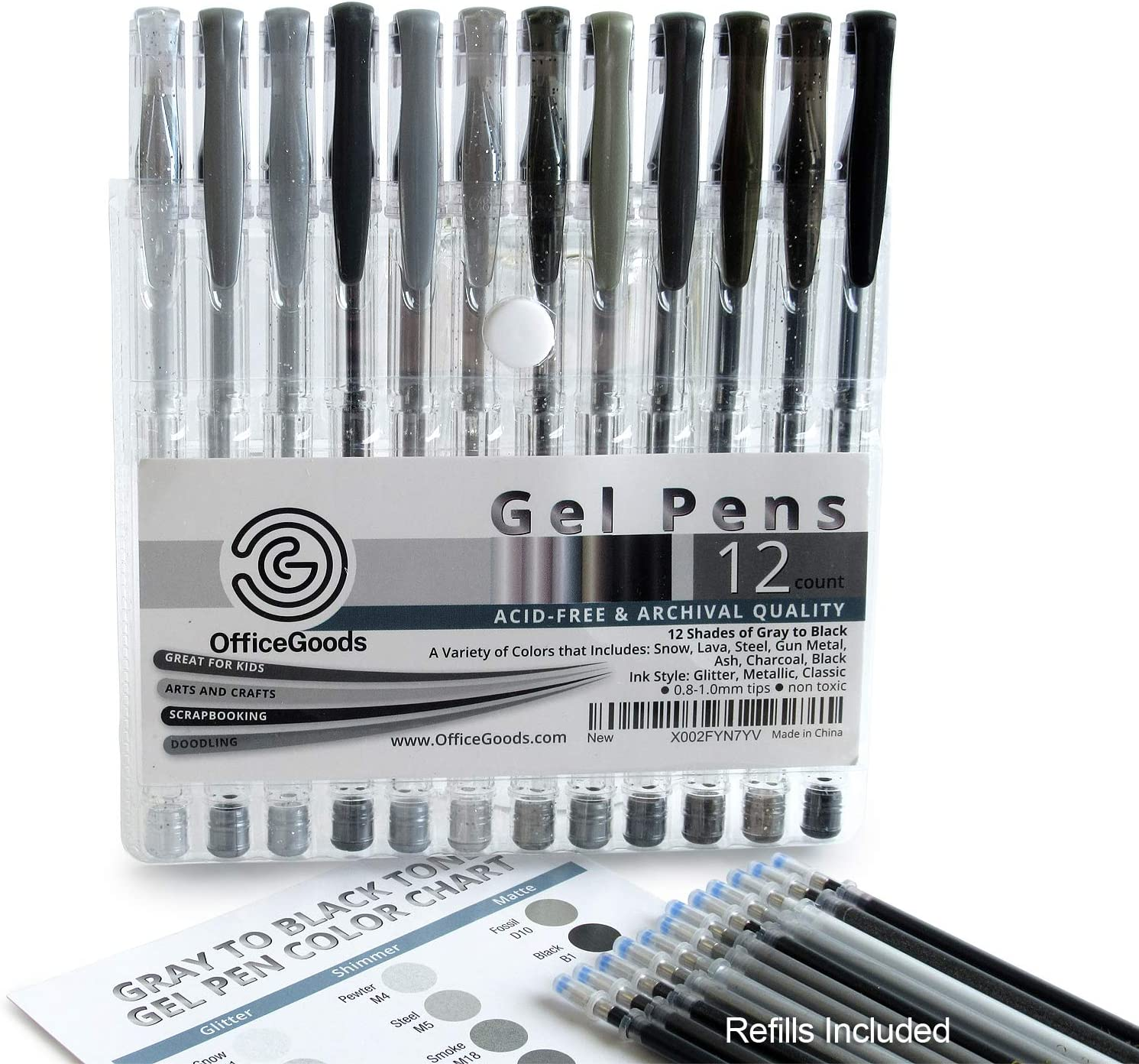 OfficeGoods Gray & Black Gel Pen Set with 12 Premium Shades of Color - Plus a Full Set of Refills = 24. Perfect for Kids, Doodling & Adult Coloring – Glitter, Metallic & Classic