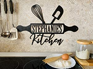 Custom Kitchen Name Sign, Personalized, Metal Wall Art, Home Decor, Housewarming, Mothers Day Gift, Mom's Kitchen, Gift for Grandma, Farmhouse, Indoor Hanging Plaque, Outdoor Sign, House, Room Decor