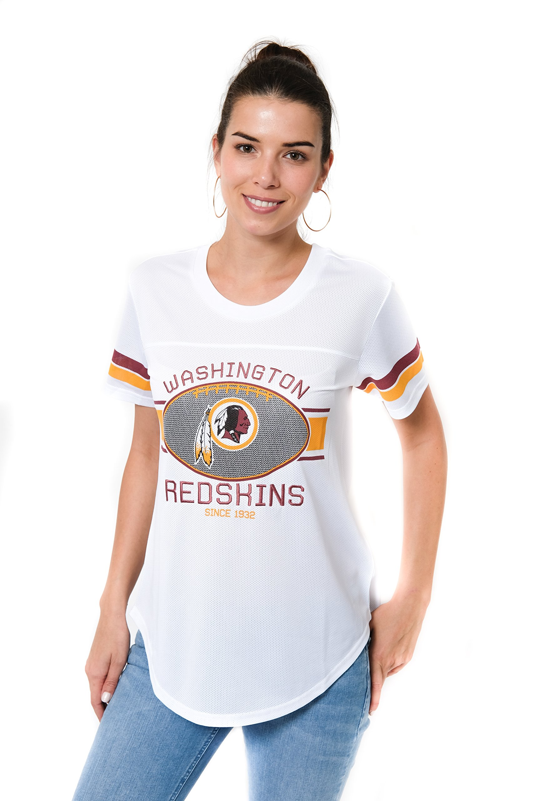 Ultra Game NFL Washington Redskins Women's Jersey T Mesh Varsity Stripe Tee Shirt, White, Large