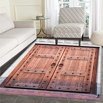 Rustic Dining Room Home Bedroom Carpet Floor Mat Antique French Wooden Door Old Medieval Historical Entrance