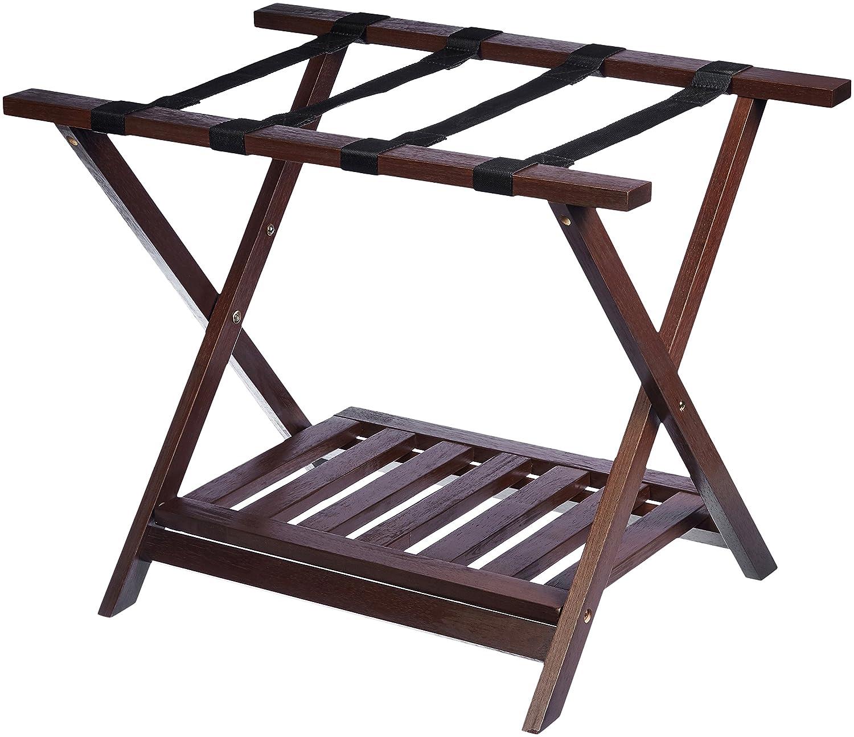 AmazonBasics Luggage Rack with Shelf - Espresso SH02-0301-150-SG-A04
