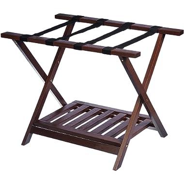 AmazonBasics Wooden Folding Suitcase Luggage Rack Stand with Shelf - Espresso