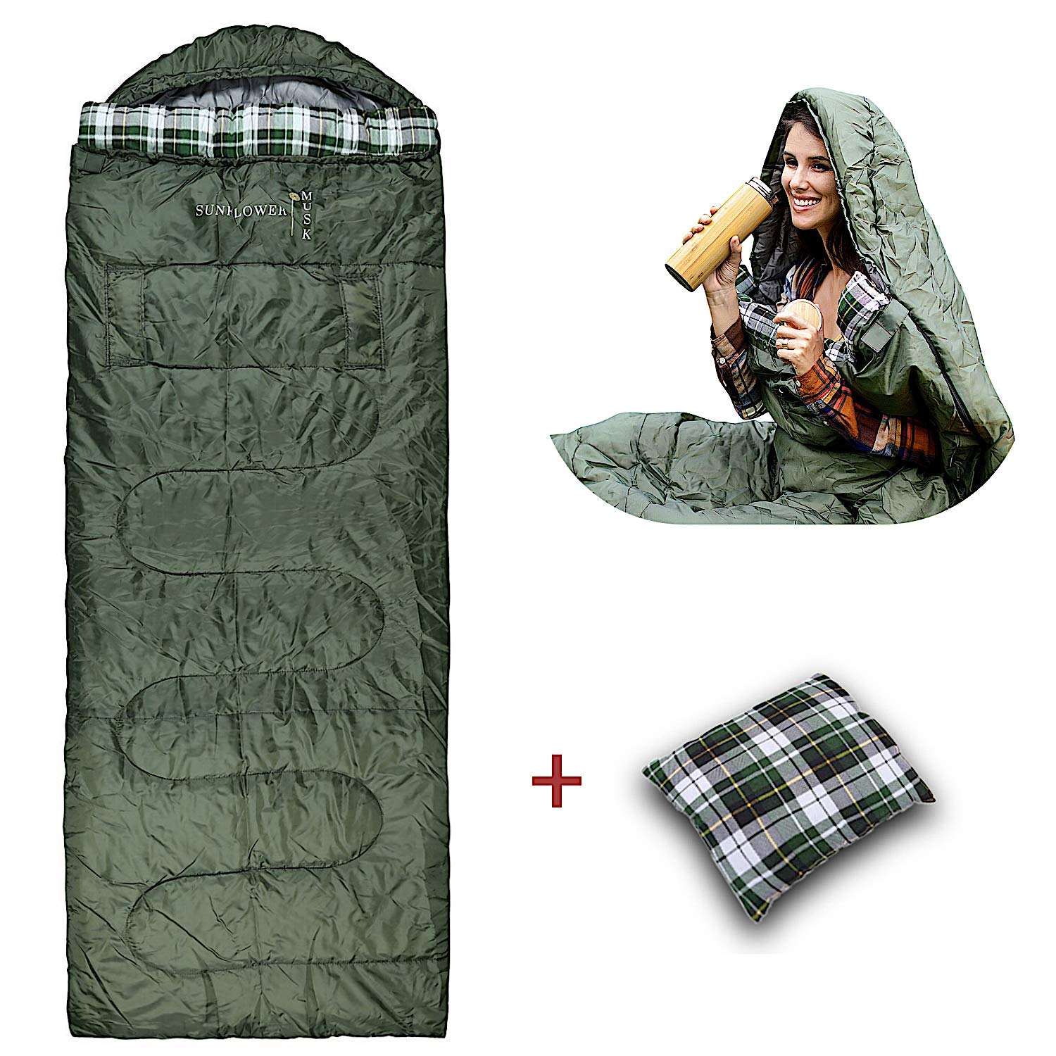 Sunflower Musk Wearable 4 Season Sleeping Bag Arm Openings and Feet Extensions Great for Camping, Outdoor, Sleepover, Hiking Wide and Lightweight Premium Acrylic Fiber Filling Adult