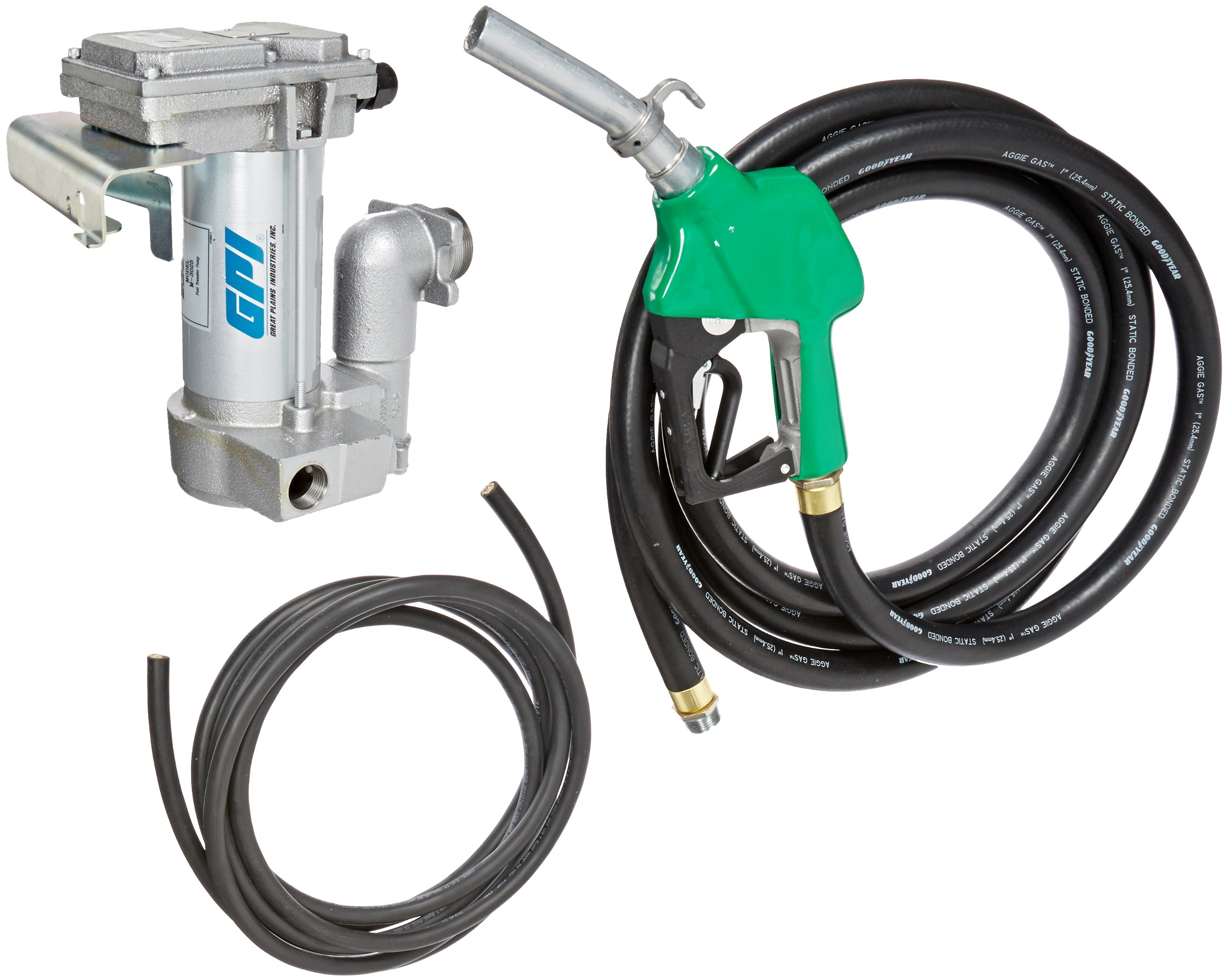 GPI 133265-04, M-3025CB-AD High Flow Cast Iron Fuel Transfer Pump, 12-VDC, 25 GPM, 1-Inch NPT X 18-Foot Fuel Hose, Automatic Diesel Nozzle, 18-Foot Power Cord, Weight Centering Base