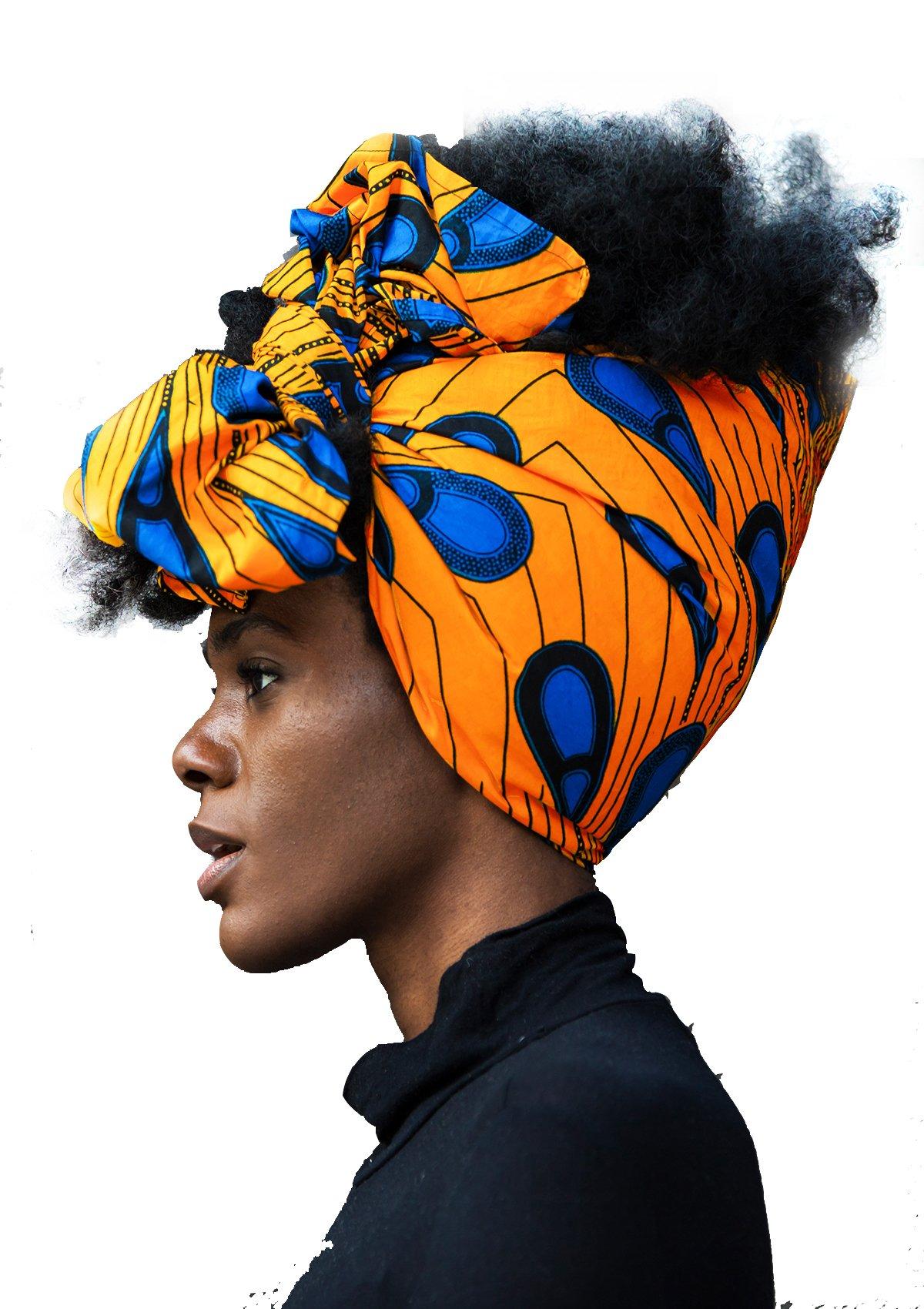"African Head Wrap HongyuAmy Extra Long 72""x22"" African Wax Print Head Scarf Tie (Gold Blue)"