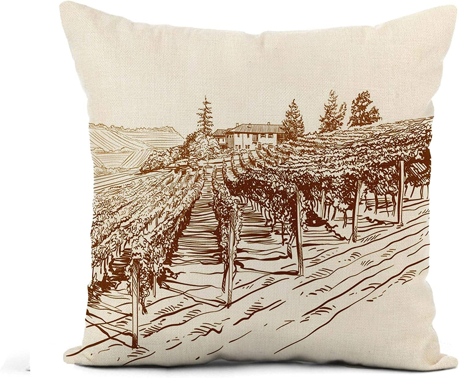 Awowee Flax Throw Pillow Cover Wine Vineyard Landscape Sketch Food France Farm Vintage Italian 20x20 Inches Pillowcase Home Decor Square Cotton Linen Pillow Case Cushion Cover