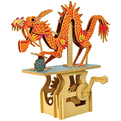 WHAT ON EARTH Mechanical Dragon Puzzle - Crank Operated Kinetic Figure: Toys & Games
