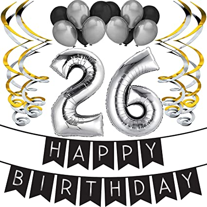 26th Birthday Party Pack - Black & Silver Happy Birthday Bunting, Balloon, and Swirls Pack- Birthday Decorations - 26th Birthday Party Supplies