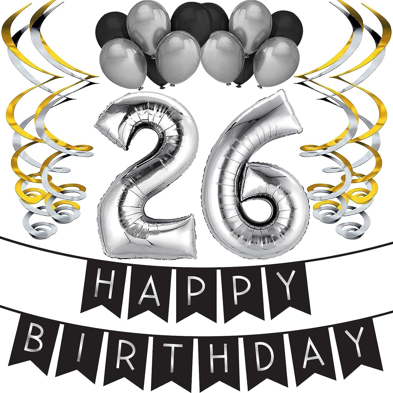 """Sterling James Co. Paquete para Fiesta de Cumpleaños Número 26 """"Happy Birthday""""- Paquete con Banderín de Feliz Cumpleaños Negro y Plateado, Globos y ..."""