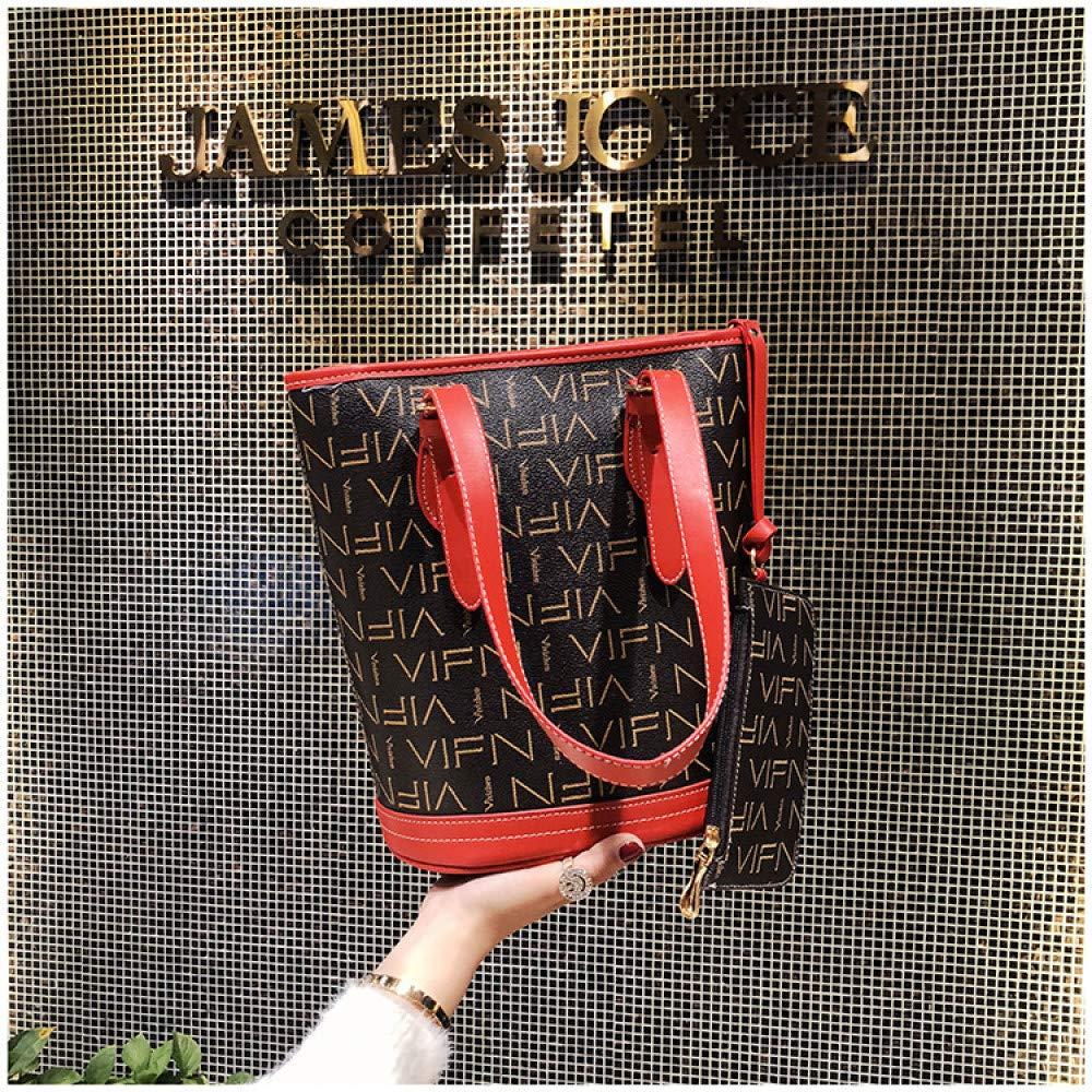 LFGCL Tasche Neue net rote presbyoped Umh/ängetasche Zweiteilige Mode Eimer Tasche einfache Messenger Bagbags