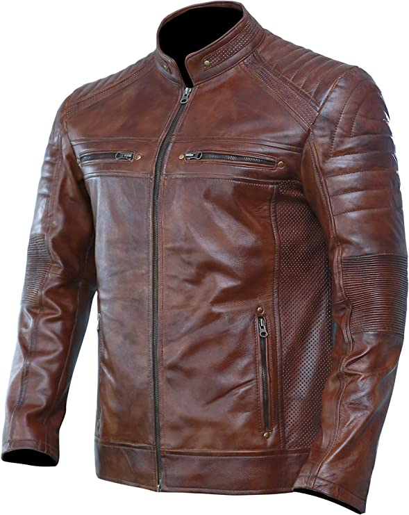 ALL SIZES Women Real Leather Slim Fit Waxed Brown Biker Jacket