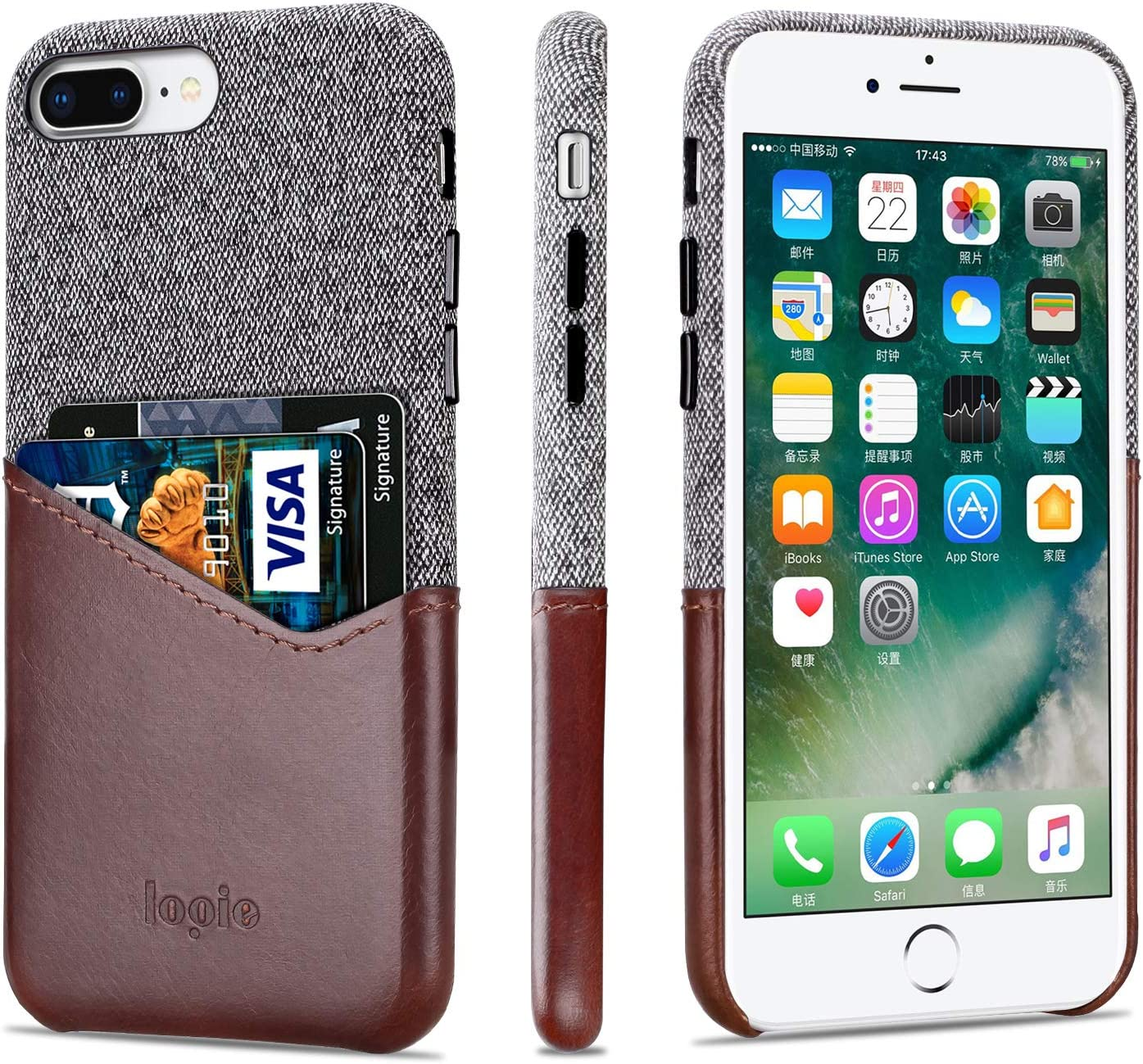 Lopie [Sea Island Cotton Series] iPhone 7 Plus/iPhone 8 Plus Case with Card Holder, Fabric Slim Back Cover with Leather Card Slot Design, Dark Brown