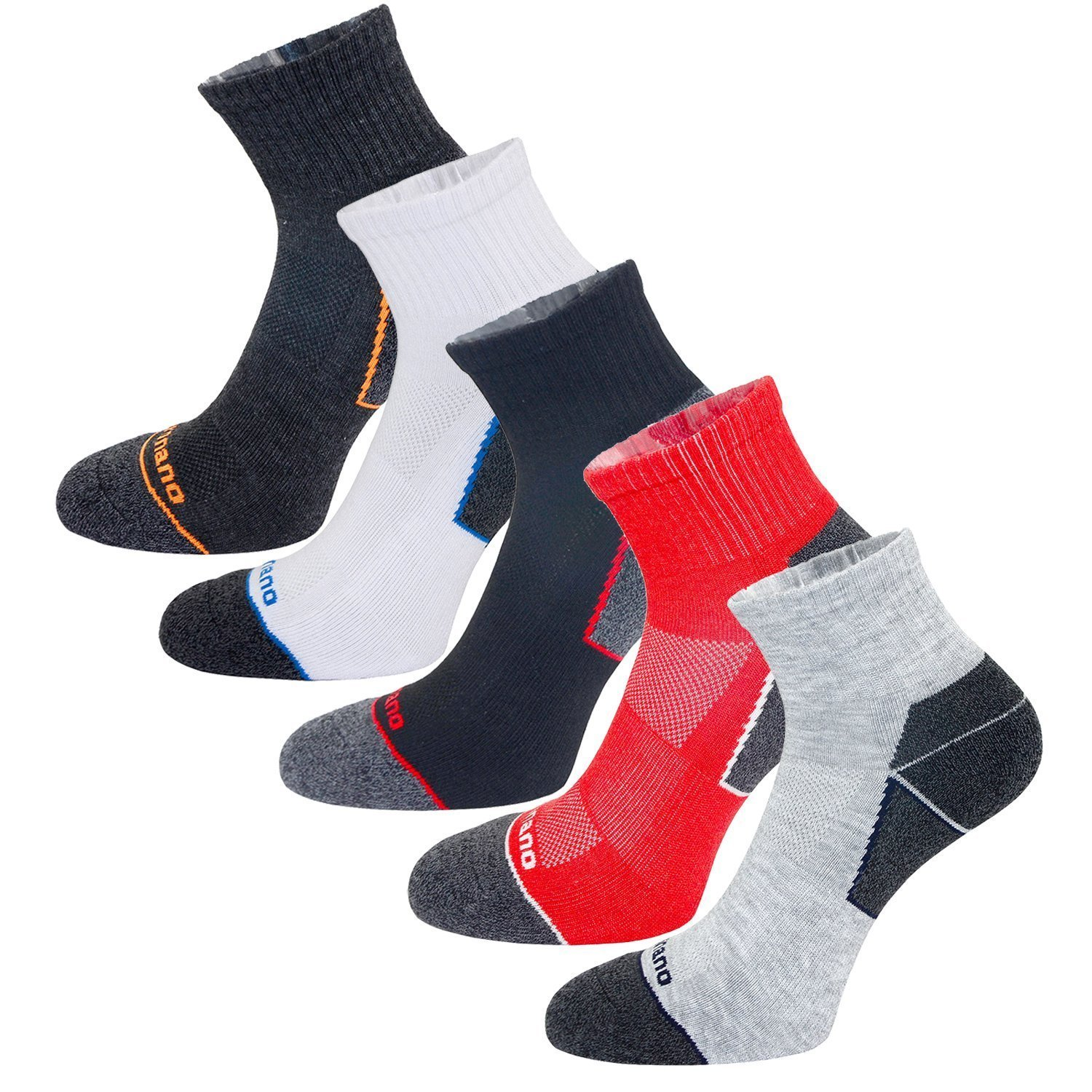 Aaronano 5 Pairs Men Half Cushioned Terry Sport Cycling Running Socks Size(5.5-11 UK)