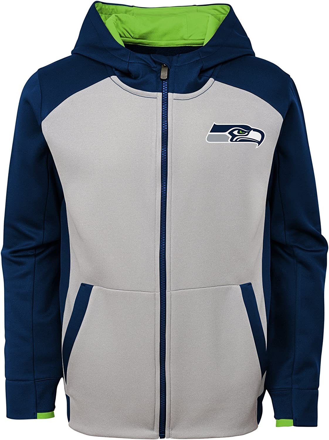 14-16 Team Color NFL Seattle Seahawks Boys Outerstuff Hi Tech Performance Full Zip Hoodie Youth Large