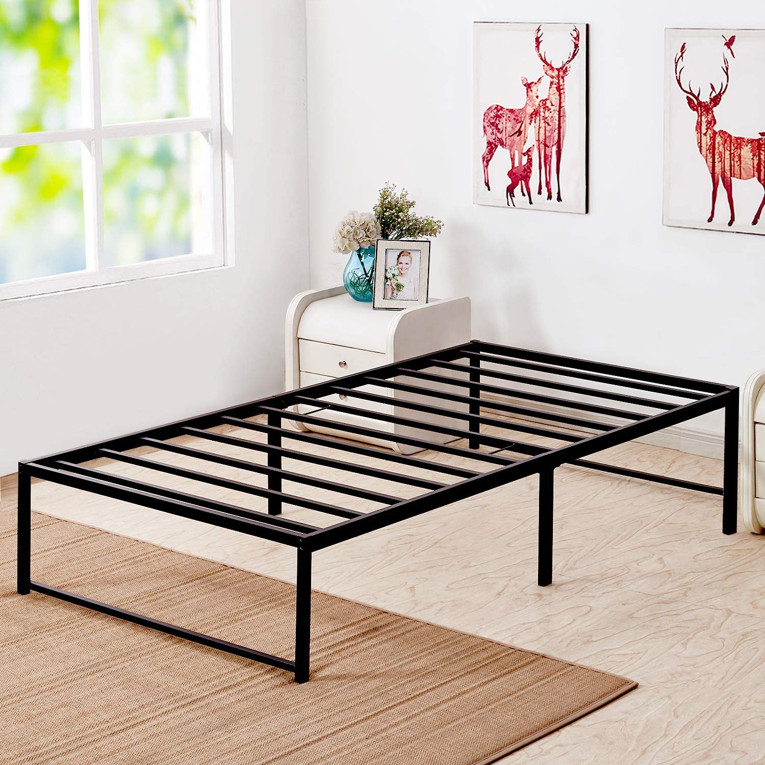 VECELO 14 Inch Platform Bed Frame/Mattress Foundation/No No Box Spring Needed/Steel Slat Support, Twin Size, Black