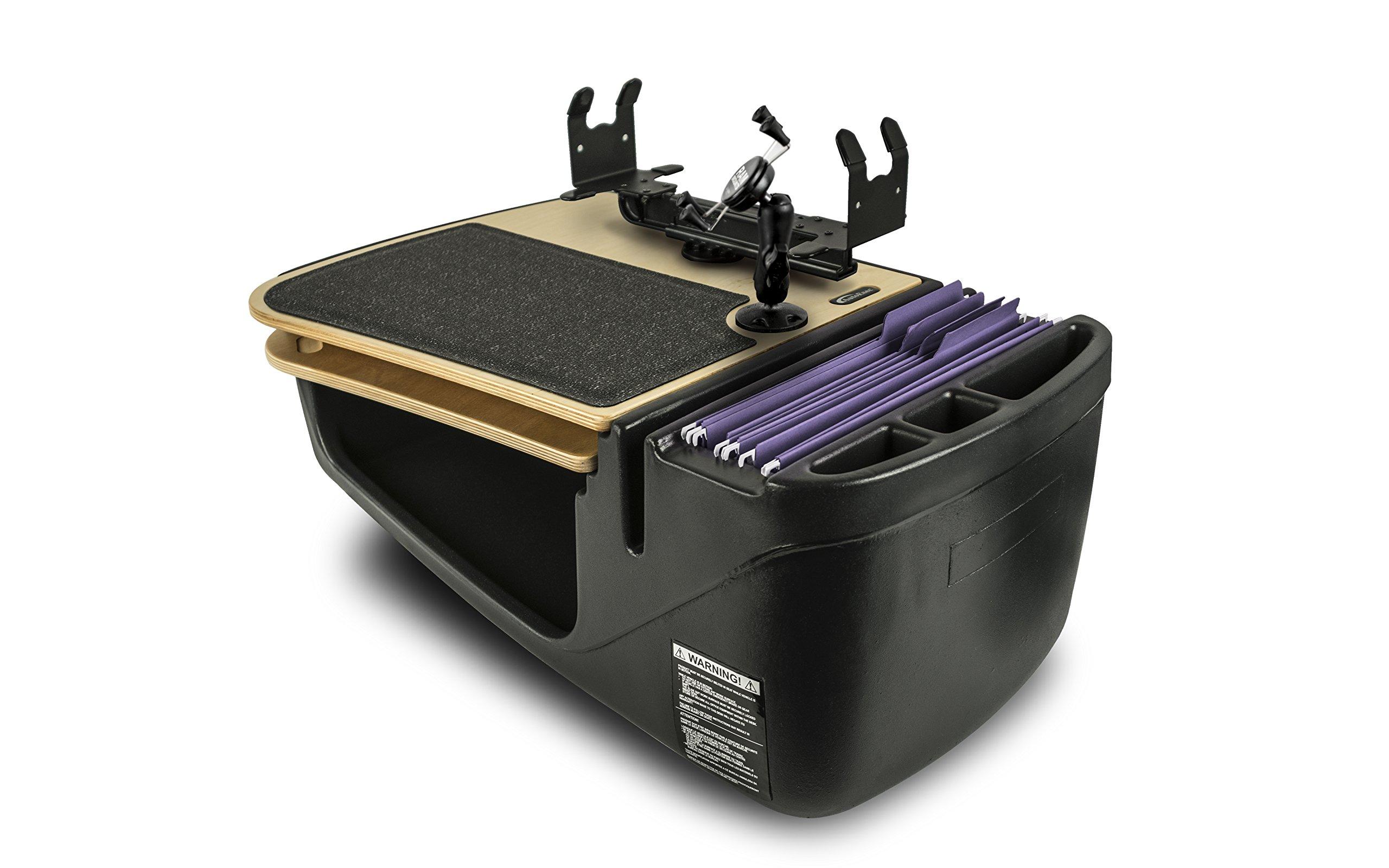AutoExec AUE18250 GripMaster Car Desk (Birch Elite with Built-in Power Inverter, X-Grip Phone Mount and Printer Stand)