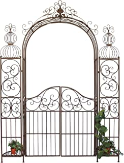 vidaXL Portillon Ornemental de Jardin Fer Forgé Portail Entrée Porte ...