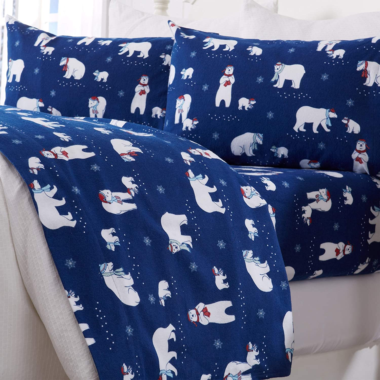 Great Bay Home Extra Soft Printed 100% Turkish Cotton Flannel Sheet Set. Warm, Cozy, Luxury Winter Bed Sheets. Belle Collection (Queen, Navy Polar Bears)