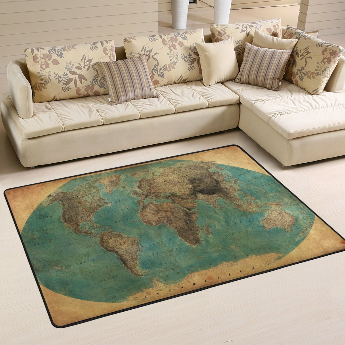 SAVSV 6' x 4' Area Rug Carpet Doormat Lightweight Printed Vintage World Map Easy to Clean For Living Room Bedroom