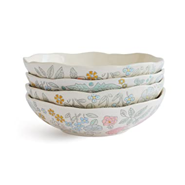 Dorotea Hand Painted Soup/Cereal Bowl, 7.25-Inch, Set of 4