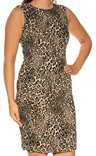 eee62849ea1 Calvin Klein Womens Beige Animal Print Sleeveless Jewel Neck Knee Length  Sheath Wear to Work Dress Petites…