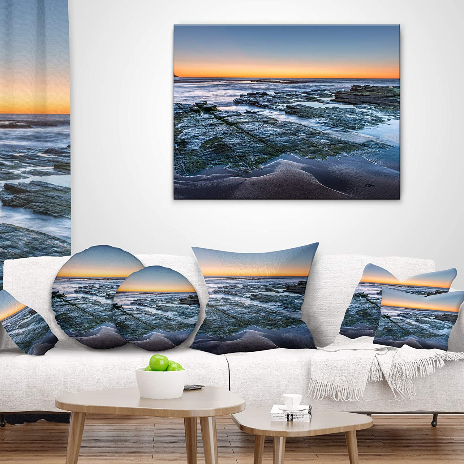 x 20 in Designart CU10243-12-20 Sunrise Over Wide Sydney Ocean Seashore Lumbar Cushion Cover for Living Room Sofa Throw Pillow 12 in Insert Printed On Both Side in