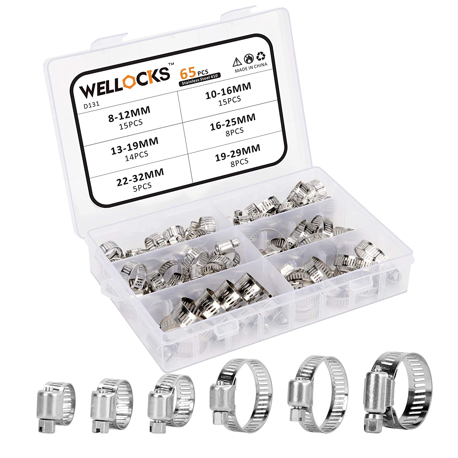 Plumbing D131 Automotive and Mechanical Application WELLOCKS Hose Clamp Assortment 65PCS Stainless Steel Adjustable 8-32mm Range Worm Gear Hose Clamps Kit Fuel Line Clamp for Water Pipe